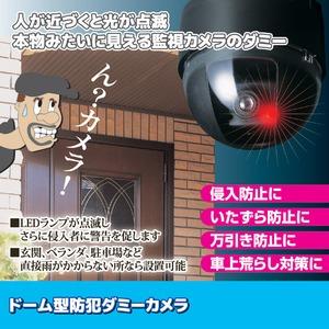 ドーム型防犯ダミーカメラ CDSセンサー/LEDランプ付き (防犯対策)