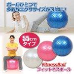 フィットネスボール 【ピンク】直径約55cm エアーポンプ/ピン付き