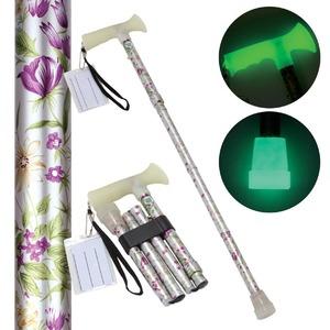 折たたみ式ステッキ 杖ぼたる 【花柄】 蓄光タイプ 長さ5段階調節可 - 拡大画像
