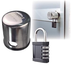 ドアノブガード(ピッキング対策鍵) 南京錠付き ステンレス鋼製 (防犯グッズ) - 拡大画像