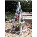 簡易温室 ピラミッド(フラワースタンド) スチール製 専用ビニールカバー付き (ガーデニング用品)