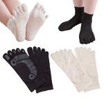5本指靴下/シルクかかとすべすべソックス 【レディース22.0〜24.0cm/ブラック(黒)】 日本製