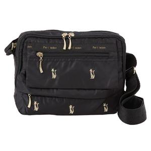 猫刺繍 ショルダーバッグ/肩掛け鞄 【7ポケット】 軽量 長さ調節可 多ポケット - 拡大画像
