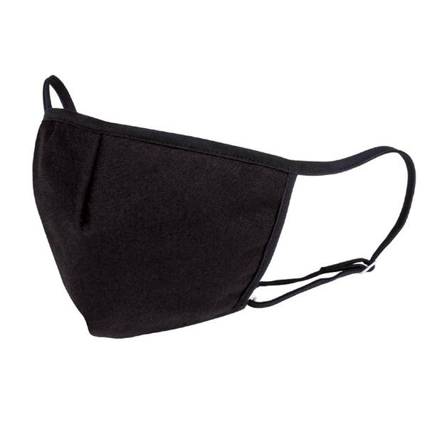 おでかけ ブラックマスク/日用雑貨 【無地】 縦11.5×横17cm 立体縫製 手洗い可 ヒモ調節可 日本製