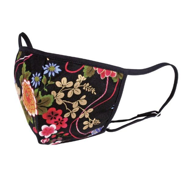 おでかけ ブラックマスク/日用雑貨 【花柄】 縦11.5×横17cm 立体縫製 手洗い可 ヒモ調節可 日本製