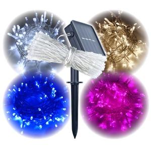 LEDイルミネーションライト 【100球 ピンク】 ソーラー充電 防滴 自動点灯 8パターン点灯 〔クリスマス イベント ディスプレイ〕 - 拡大画像