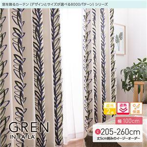 窓を飾るカーテン(デザインとサイズが選べる8000パターン)インファラ GREN(グレン) 遮光2級 遮熱 保温 (AL) 幅100cm×丈250cm(2枚組) グリーン - 拡大画像