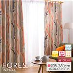窓を飾るカーテン インファラ FOREST(フォレスト) 遮光2級 遮熱 保温 形態安定 (AL) 幅100cm×丈205cm(2枚組) オレンジ