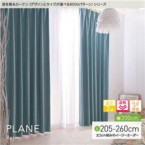 窓を飾るカーテン ベーシック無地 PLANE(プレーン) 遮光2級 遮熱 保温 (HZ) 幅200cm×丈255cm(1枚) パープル - 拡大画像
