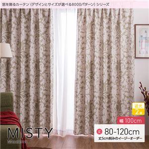 窓を飾るカーテン(デザインとサイズが選べる8000パターン)モダン MISTY(ミスティ) 遮光2級 (AL) 幅100cm×丈100cm(2枚組) ベージュ - 拡大画像