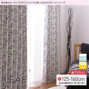 窓を飾るカーテン モダン LEAF(リーフ) 遮光2級 形態安定 (AL) 幅100cm×丈135cm(2枚組) ブラック - 拡大画像