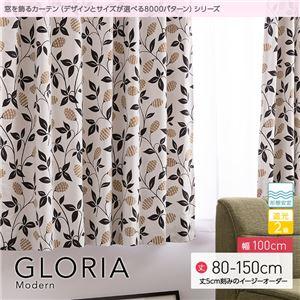窓を飾るカーテン モダン GLORIA(グロリア) 遮光2級 形態安定 (AL) 幅100cm×丈115cm(2枚組) ブラウン - 拡大画像