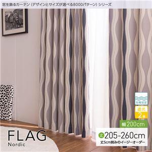 窓を飾るカーテン(デザインとサイズが選べる8000パターン)北欧デザイン FLAG(フラッグ) 遮光2級 形態安定 (MZ) 幅200cm×丈250cm(1枚) ブラウン - 拡大画像
