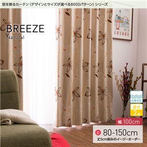 窓を飾るカーテン ナチュラル BREEZE(ブリーゼ) 遮光2級 形態安定 (AL) 幅100cm×丈120cm(2枚組) ベージュ - 拡大画像