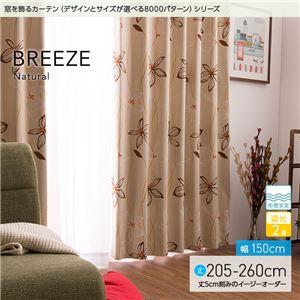窓を飾るカーテン ナチュラル BREEZE(ブリーゼ) 遮光2級 形態安定 (AL) 幅150cm×丈220cm(2枚組) ベージュ - 拡大画像