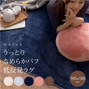 mofua うっとりなめらかパフ 低反発ラグ 185×185cm アイボリー - 拡大画像