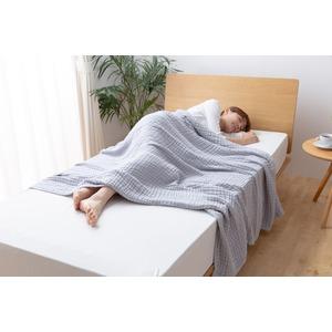 mofua やわらかいくしゅくしゅガーゼケット 綿100% 【シングル】 グレー - 拡大画像
