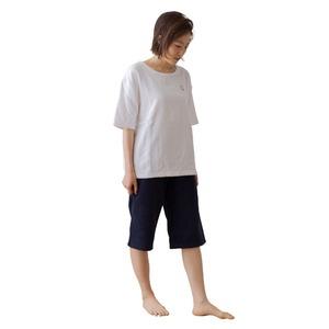 mofua 綿100% 着るタオルケット M(上下セット) ホワイト×ネイビー - 拡大画像
