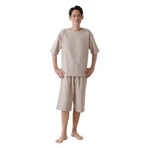 mofua 綿100% 着るタオルケット L(上下セット) ベージュ - 拡大画像