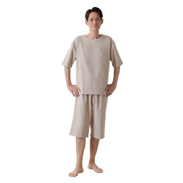 mofua 綿100% 着るタオルケット L(上下セット) ベージュ