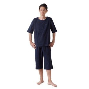 mofua 綿100% 着るタオルケット L(上下セット) ネイビー - 拡大画像