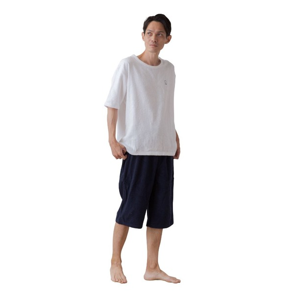 mofua 綿100% 着るタオルケット L(上下セット) ホワイト×ネイビー