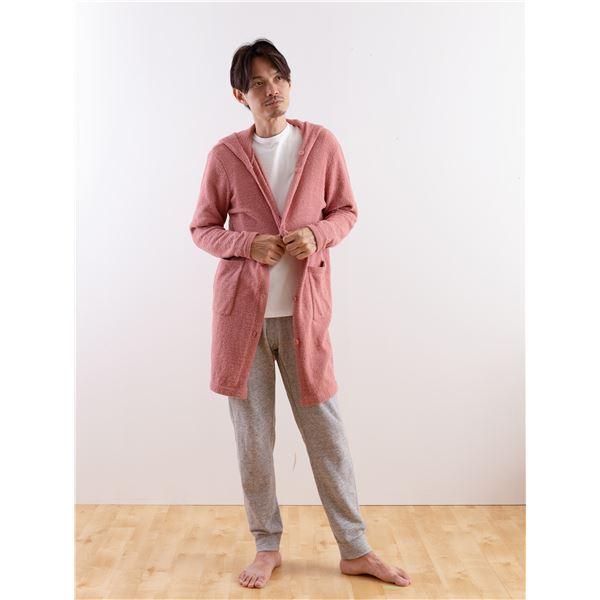 mofua やわらかニット ロングカーディガン(男女兼用) L ピンク