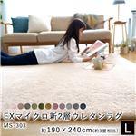 EXマイクロ新2層ウレタンラグマットMS-303 【約190×240cm 3畳】L  アイボリー