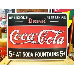 アメリカンブリキ看板 コカコーラ 5セントの源泉 - 拡大画像