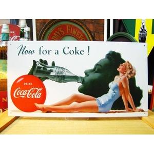 アメリカンブリキ看板 コカコーラ Now for a Coke - 拡大画像