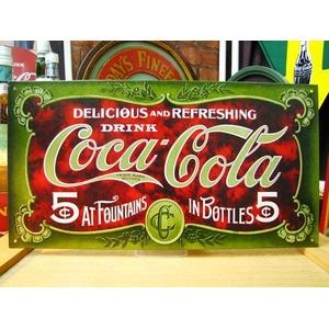 アメリカンブリキ看板 コカコーラ 1900年看板 - 拡大画像