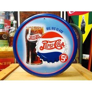 アメリカンブリキ看板 ペプシコーラ グラス&ロゴ - 拡大画像
