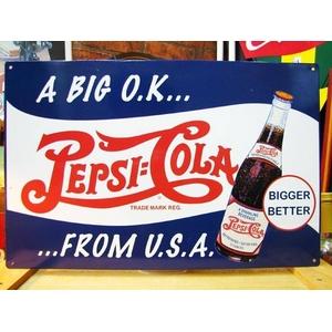 アメリカンブリキ看板 ペプシコーラ 大きいのがいい - 拡大画像