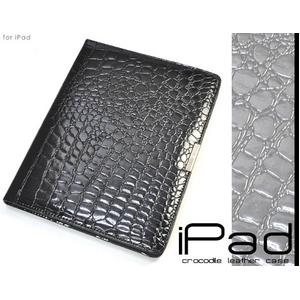 iPad ケース 高級感あふれる♪クロコダイル風レザーケース - 拡大画像