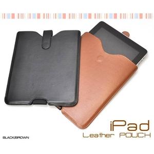 iPad ケース レザーポーチ(レザーケース) 高級感あふれるブラック♪ - 拡大画像