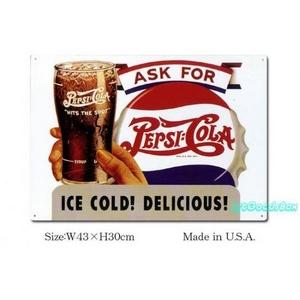 ブリキ看板 ペプシコーラ -ICE COLD! DELICIOUS!- - 拡大画像
