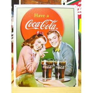 アメリカンブリキ看板 コカコーラ ヤングカップル - 拡大画像