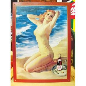 アメリカンブリキ看板 ペプシコーラ 水着の女性 - 拡大画像