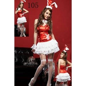 コスプレ 耳カチューシャのバニーガール(ワンピ カチューシャ カフス×2 チョーカー )赤×白 - 拡大画像