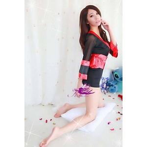 コスプレ 赤×黒の豪華着物 浴衣 和物 袖シースルー - 拡大画像