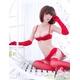 赤のランジェリーセット グローブ&ガーターベルト付 ブラ&スカート  - 縮小画像2