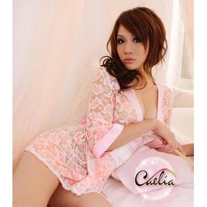 コスプレ 全レースのピンク豪華着物 浴衣 和物 - 拡大画像