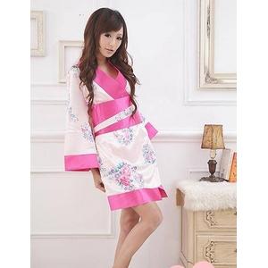 コスプレ ピンクセット 豪華な花柄着物 浴衣 - 拡大画像