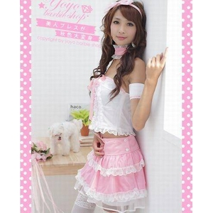 コスプレ ゴスロリ系メイド服7点セット・ピンク - 拡大画像