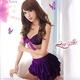 ランジェリー キラキラ紫のブラ&Tバック&スカート・ランジェリー - 縮小画像1
