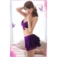 ランジェリー キラキラ紫のブラ&Tバック&スカート・ランジェリー - 縮小画像3