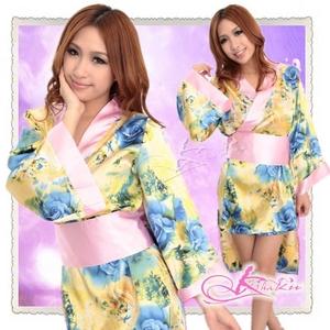 ピンク帯付花柄仕上げの浴衣・着物コスプレ【2点入り】 - 拡大画像