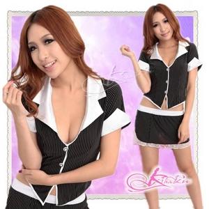 セクシースカートの女子教師コスプレ・OL制服 - 拡大画像