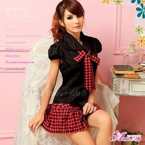 コスプレ 黒×赤チェック ミニスカ女子制服コスプレ/コスチューム z690 - 拡大画像