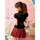 コスプレ 黒×赤チェック ミニスカ女子制服コスプレ/コスチューム z690 - 縮小画像3